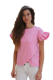 Ruffle Pink Vibrant Top (Made From Bemberg ) - ShopAuthentique