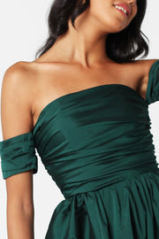Emerald Silk Taffeta Flowy Dress - ShopAuthentique