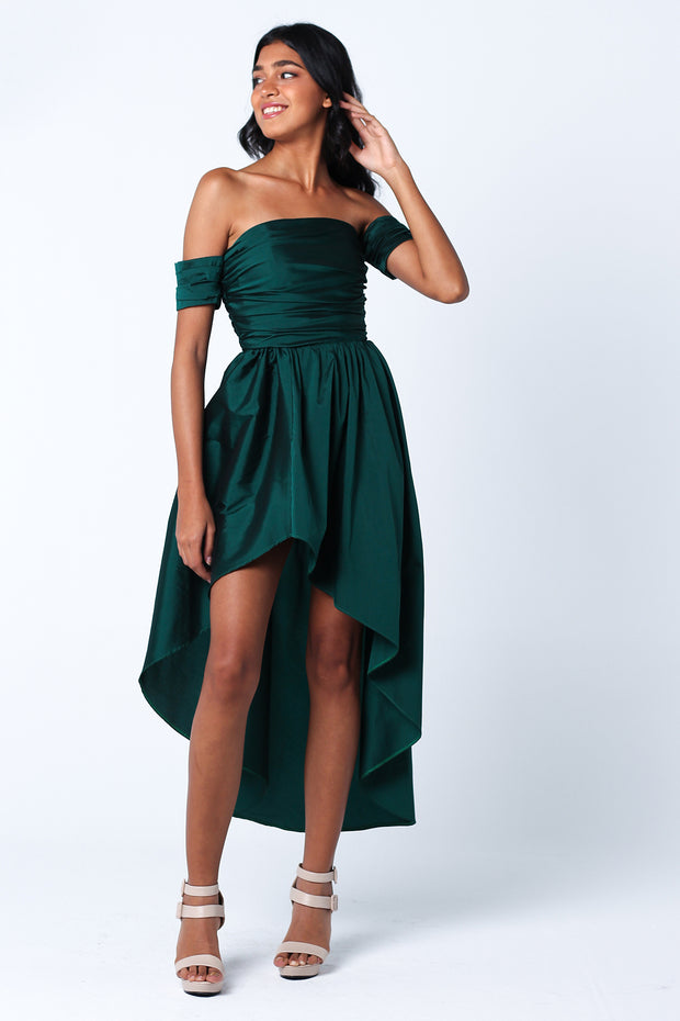 Emerald Silk Taffeta Flowy Dress