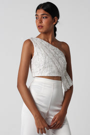 Off White Sequined Draped Top