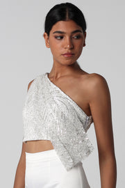 Off White Sequined Draped Top - ShopAuthentique