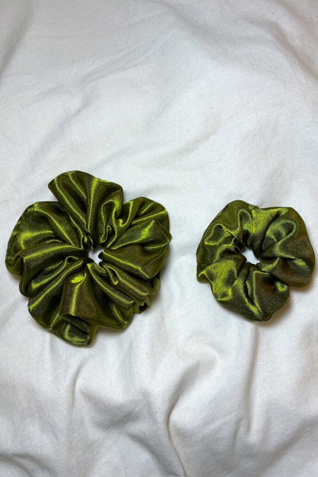 Olive Satin Scrunchie