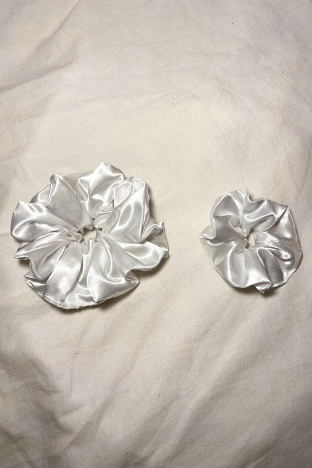 White Satin Scrunchie