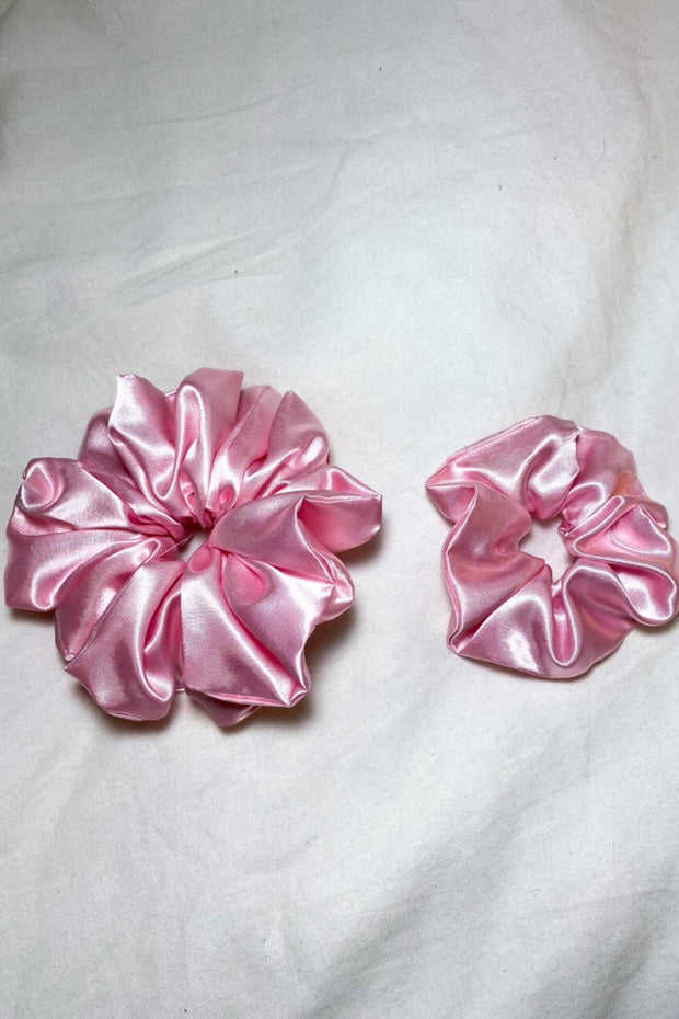 Pink Satin Scrunchie