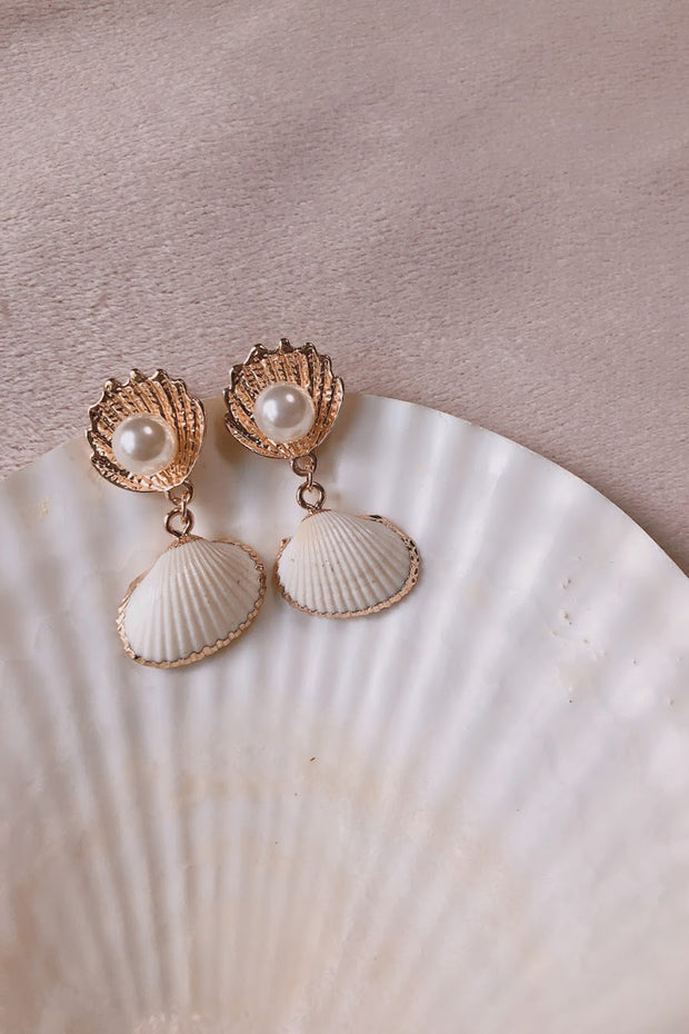 Gold Dipped Natural Shell Earrings - ShopAuthentique