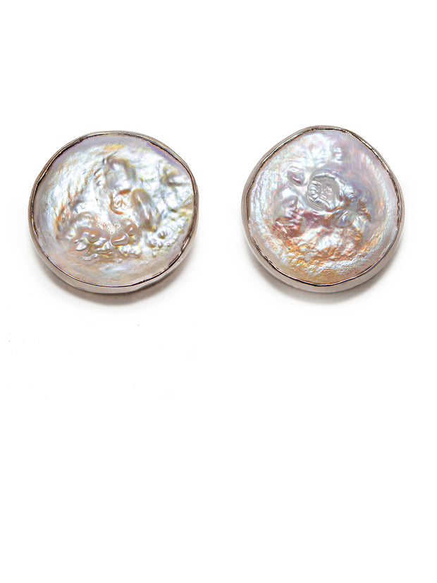 Large Flat Pearl Studs - ShopAuthentique