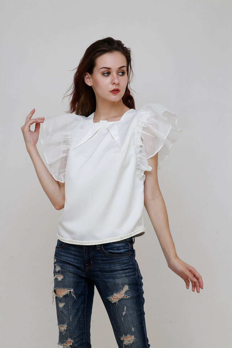 IVORY STRIPED ORGANZA SUPER RUFFLE TOP - ShopAuthentique
