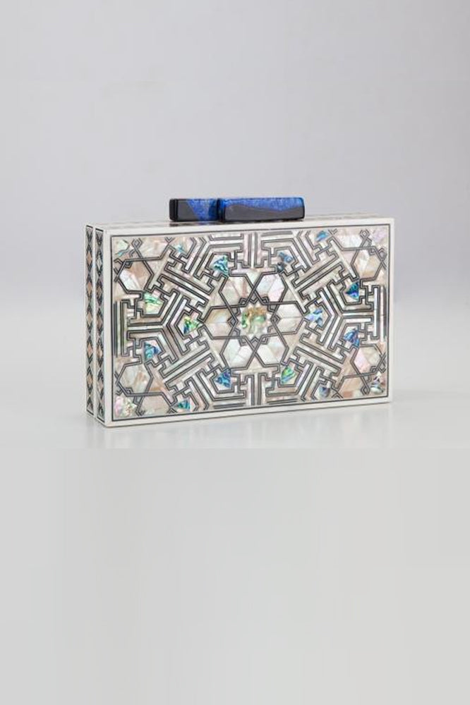 New York Clutch Bag (Black & Blue Onyx) - ShopAuthentique