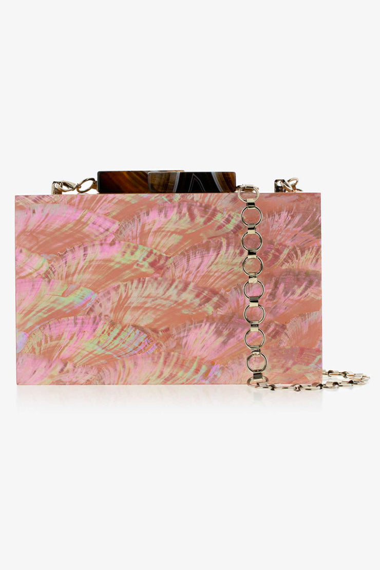 Salmon-Pink Abalone Clutch - ShopAuthentique