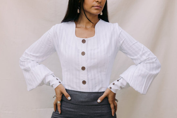 The Mona Crop Blouse White - ShopAuthentique