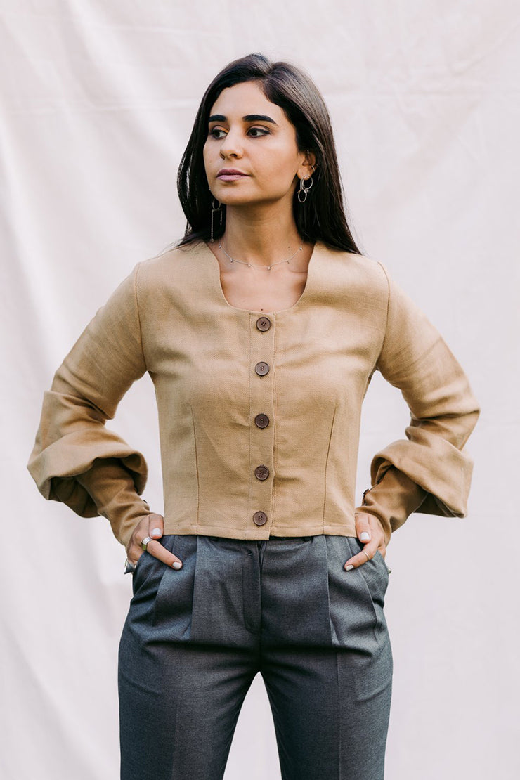 The Mona Crop Blouse Camel - ShopAuthentique