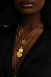 THE ALIGN PYRAMID Coin Necklace with Raw Black Diamonds - ShopAuthentique