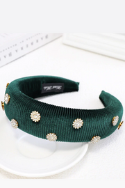 Handmade Velvet Padded Headband Pink or Green - ShopAuthentique