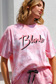 "The ""BLONDE"" Pink Marble Tie-Dye Boxy Tee"