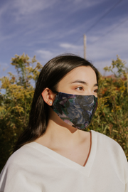 Blue Foral Mask