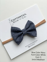 Load image into Gallery viewer, Cottontail Bow & Co. | Madison Bow | Personalized | Navy