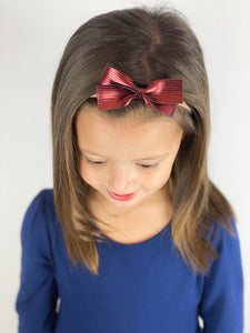 Petite Loop Bow | Rudolph Red Leather | Clip