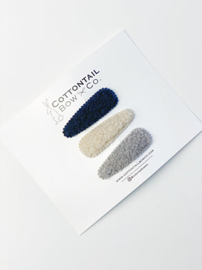 Sherpa Clip Set | Navy, Cream, Gray