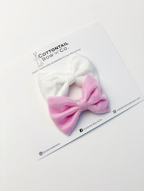 Mini Madison Velvet Set | White & Baby Pink | Clip
