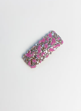 Single Sparkle Clip | Pink Flocked Velvet