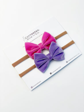 Mini Madison Velvet Set | Hot Pink & Purple | Headband