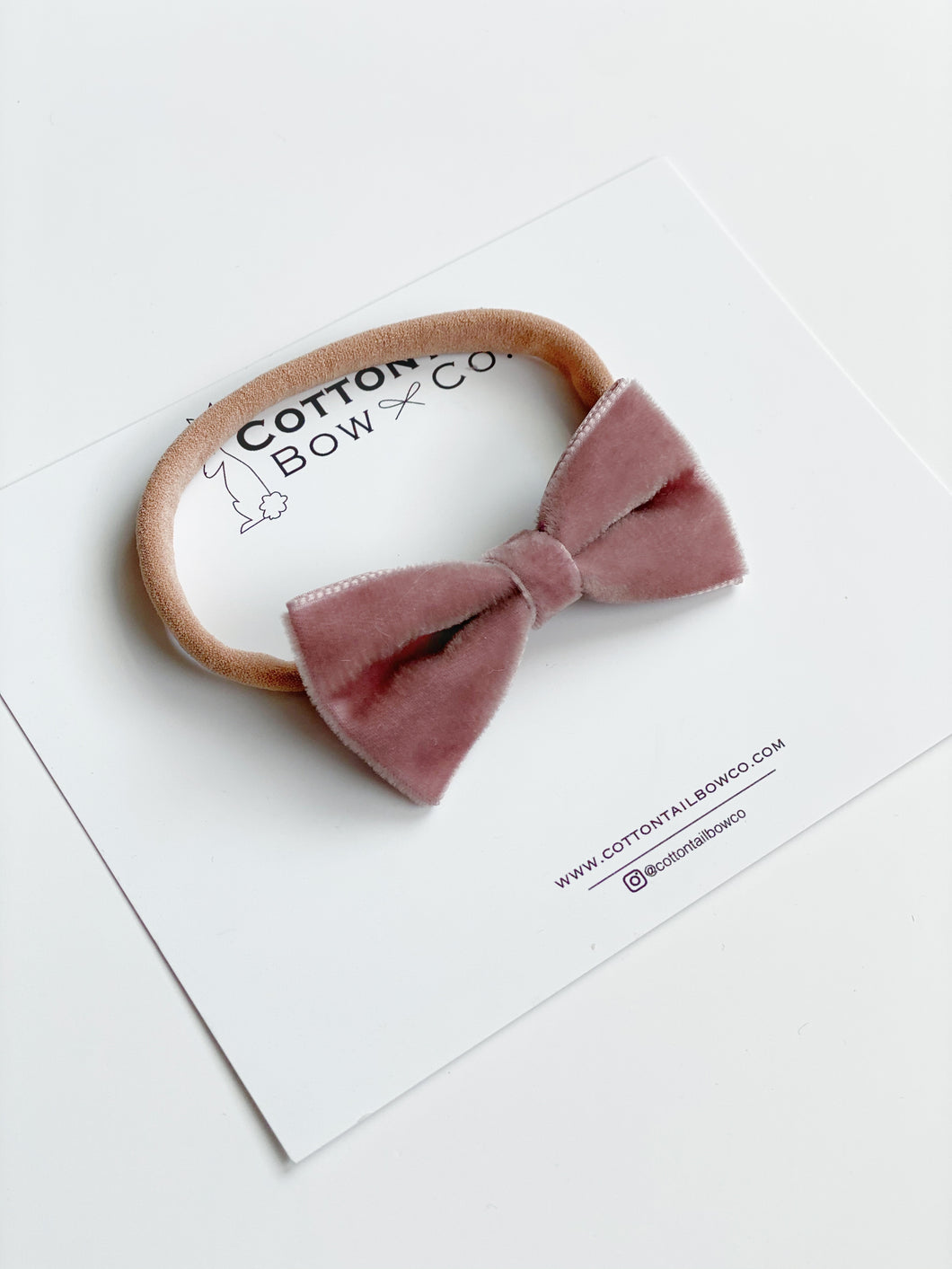 Madison | Dusty Rose Velvet Ribbon | Mini | Headband