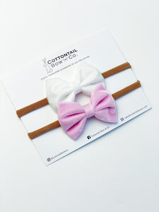 Mini Madison Velvet Set | White & Baby Pink | Headband