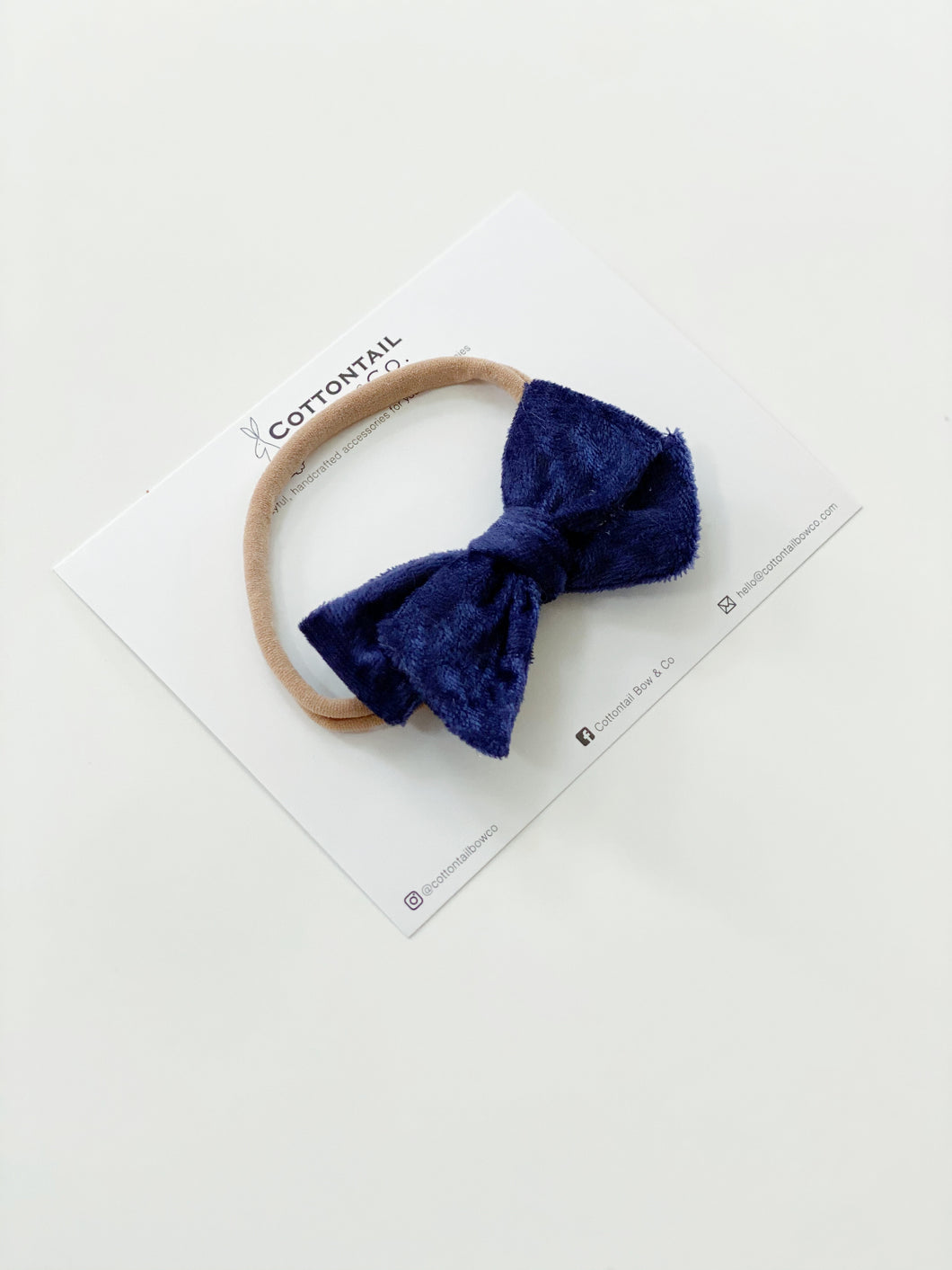 Maeve | Navy Crushed Velvet | Standard | Headband