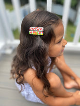 Load image into Gallery viewer, Cottontail Bow & Co. | Citrus & Watermelon Bar Clips on girl