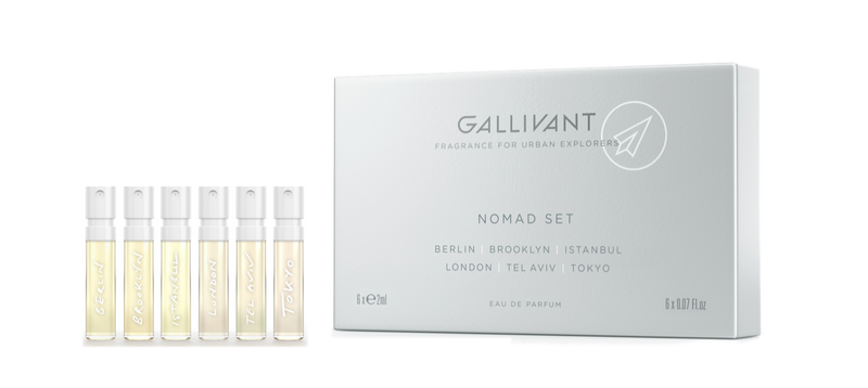 Nomad Discovery Set by Gallivant ~ Tokyo, Berlin, Brooklyn, Istanbul, London & Tel Aviv (6 x 2 mL)