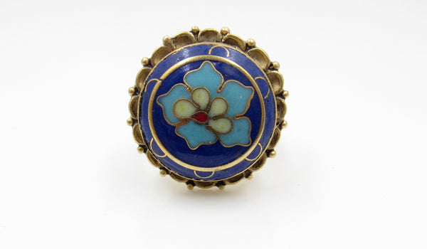 Vintage Large Blue Petal Button Ring