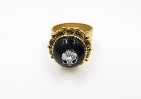 Vintage Black with Glass Flower Button Ring