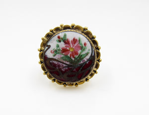 Vintage Flower Button Ring