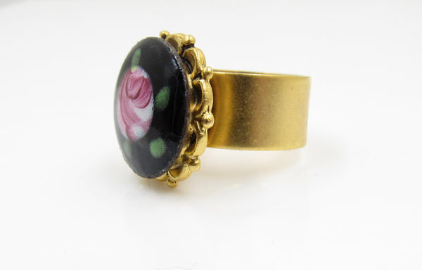 Vintage Rose Bud Button Ring