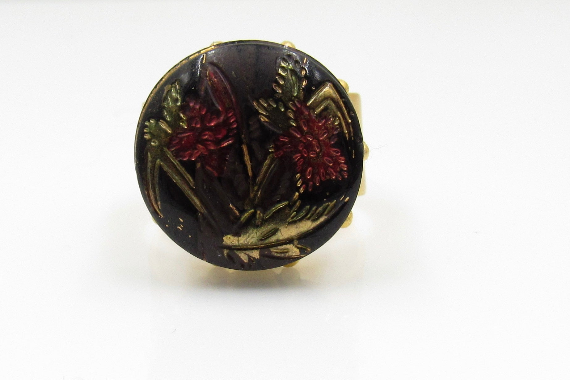 Vintage Red Flower Button Ring