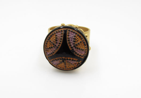 Vintage Orange and Purple Button Ring