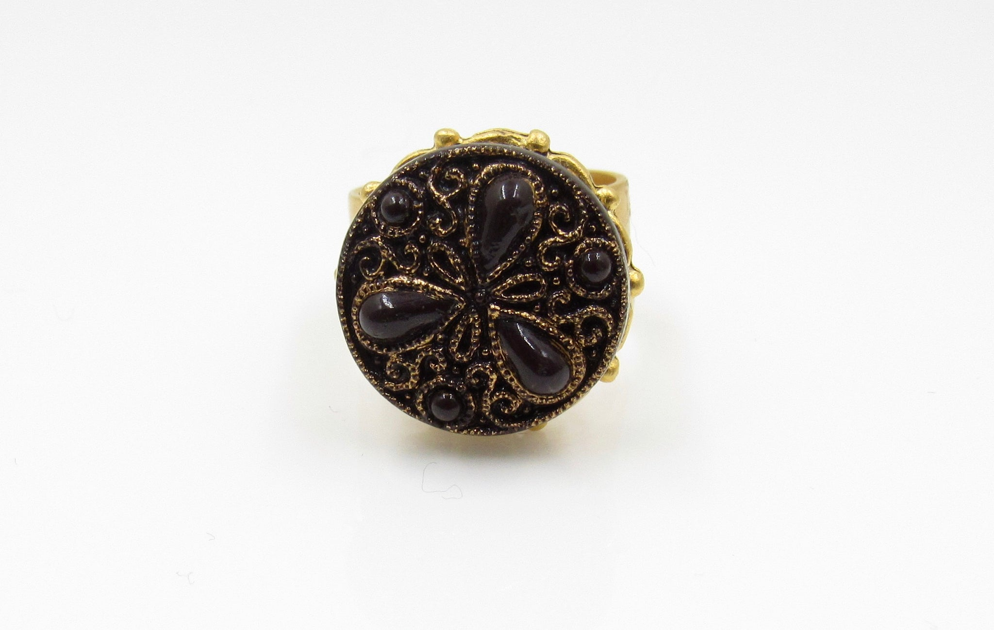 Vintage Purple and Gold Button Ring