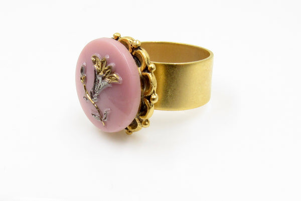 Vintage Pink with Gold and Silver Button Ring