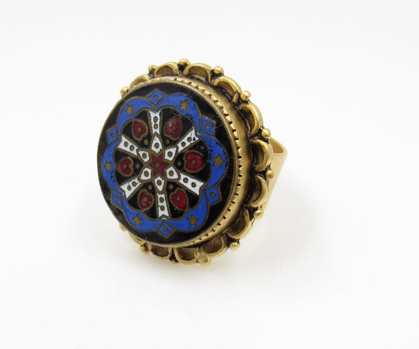 Vintage Red White and Blue Button Ring