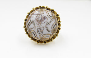 Vintage White and Gold Flower Button Ring