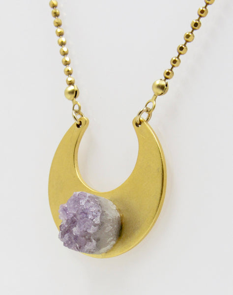 Violet Druzy Quartz Necklace