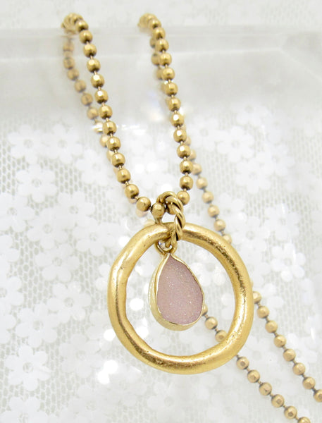Pale Pink Druzy Quartz Necklace