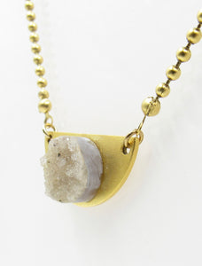 Light Grey Druzy Quartz Necklace