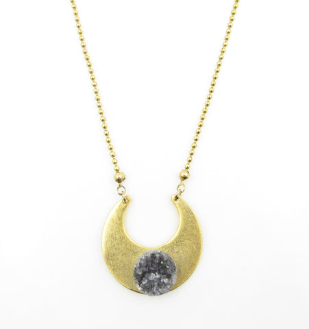 Grey Druzy Quartz Necklace