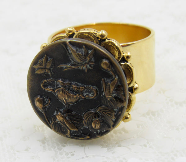 Vintage Art Nouveau Button Ring