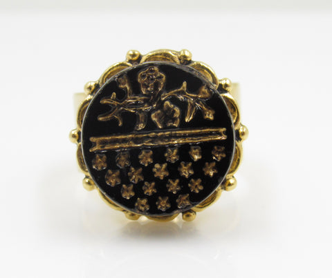 Vintage Jet Black Etcheted Button Ring