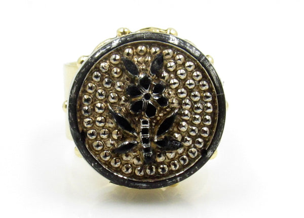 Vintage Black Flower Button Ring