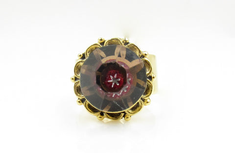 Vintage Kaleidoscope Button Ring