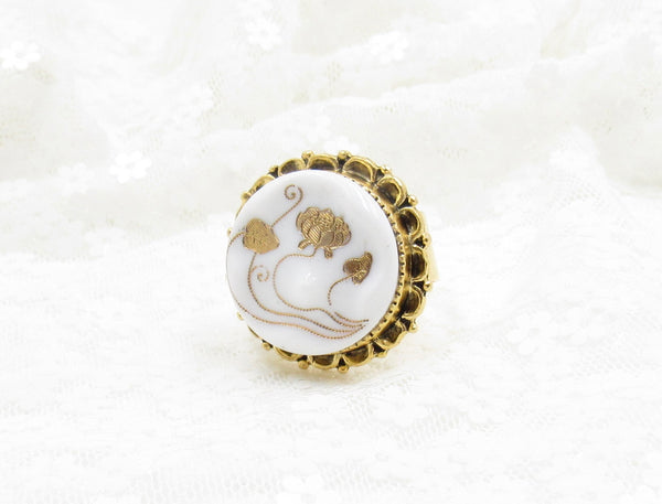 Vintage Victorian Lotus and Water Lilies Button Ring