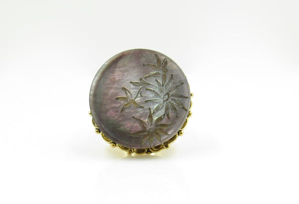 Vintage French Carved Mother of Pearl Leaf Flower Button Ring
